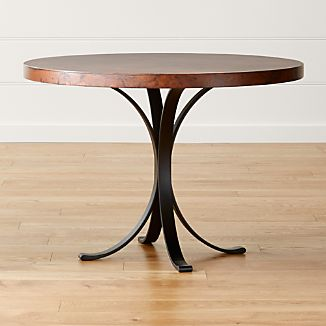 cobre 42 round iron bistro table with copper - Small Wood Dining Table