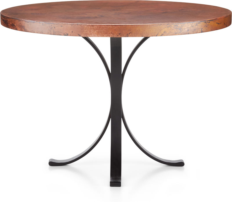"""Cobre 42"""" Round Iron Bistro Table with Copper Top."""