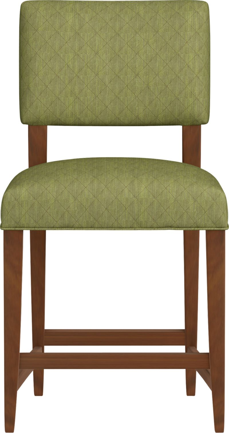 """Cody receives your guests with all the generous proportions and comfort of a fully upholstered barstool, but keeps the room light and airy with its open back design and minimal lines. The look is soft and modern: a tight-cushioned but very padded seat and contoured back made for lingering, and elegant tapering solid hardwood legs.<br /><br />After you place your order, we will send a fabric swatch via next day air for your final approval. We will contact you to verify both your receipt and approval of the fabric swatch before finalizing your order.<br /><br /><NEWTAG/><ul><li>Eco-friendly construction</li><li>Certified sustainable, kiln-dried hardwood frame</li><li>Tight seat and back cushions with soy-based foam and web suspension</li><li>Rayon-polyester-cotton blend fabric with self welt detail</li><li>26""""H seat sized for counters</li><li>Made in North Carolina, USA</li></ul>"""