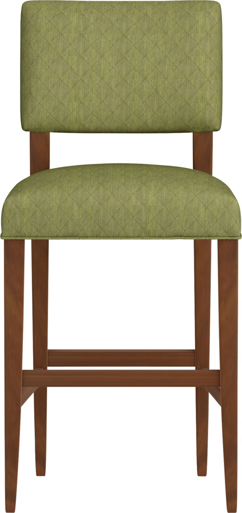 """Cody receives your guests with all the generous proportions and comfort of a fully upholstered barstool, but keeps the room light and airy with its open back design and minimal lines. The look is soft and modern: a tight-cushioned but very padded seat and contoured back made for lingering, and elegant tapering solid hardwood legs.<br /><br />After you place your order, we will send a fabric swatch via next day air for your final approval. We will contact you to verify both your receipt and approval of the fabric swatch before finalizing your order.<br /><br /><NEWTAG/><ul><li>Eco-friendly construction</li><li>Certified sustainable, kiln-dried hardwood frame</li><li>Tight seat and back cushions with soy-based foam and web suspension</li><li>Rayon-polyester-cotton blend fabric with self welt detail</li><li>32""""H seat sized for bars</li><li>Made in North Carolina, USA</li></ul>"""