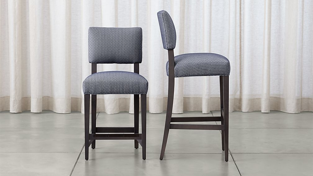 Cody Blue Upholstered Bar Stools Crate And Barrel