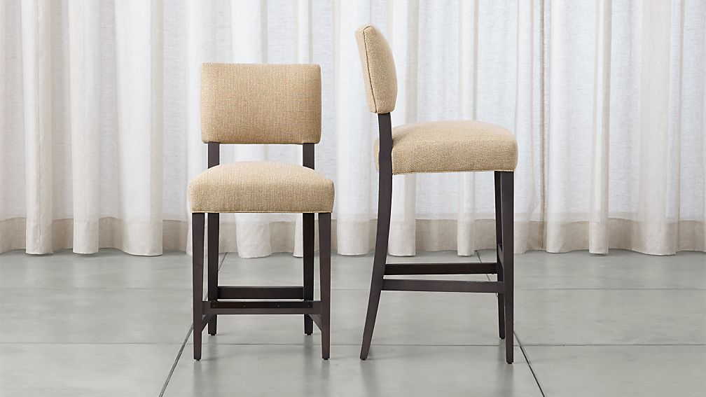 Cody Upholstered Beige Bar Stools Crate And Barrel
