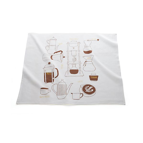 Coffee Print Floursack Dish Towel