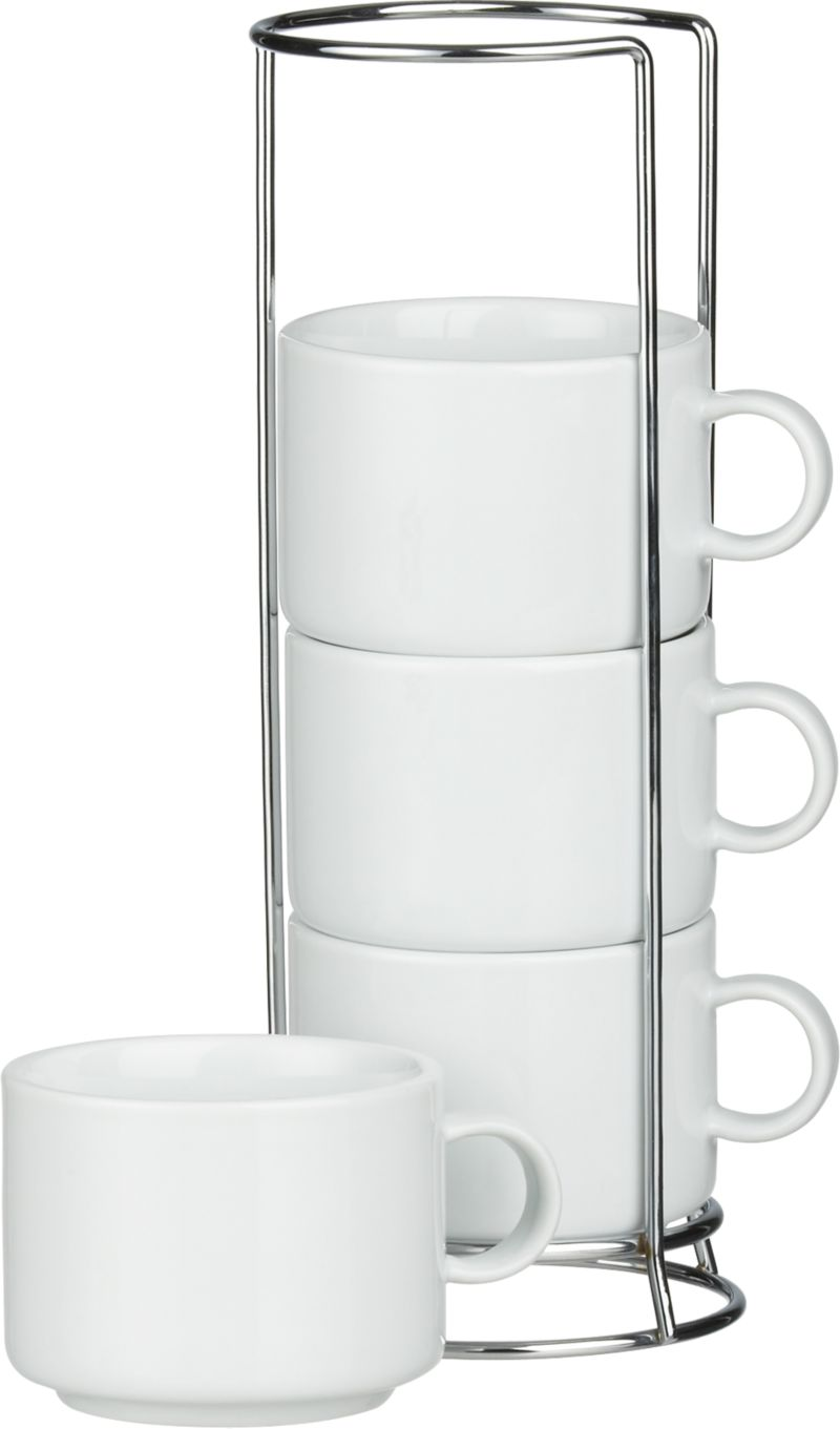Our exclusive stacking white porcelain mugs nest on counter or buffet in their own chrome-plated racks.<br /><br /><NEWTAG/><ul><li>Porcelain mugs</li><li>Chrome-plated iron racks</li><li>Mugs are dishwasher- and microwave-safe</li><li>Made in China</li></ul>