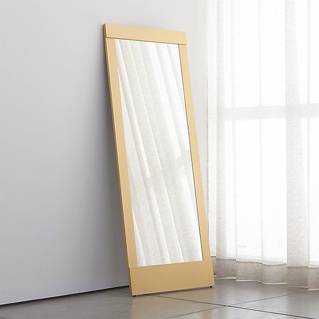 Colby soft gold floor mirror crate and barrel for Gold floor standing mirror