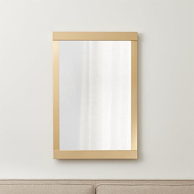 gold bathroom mirrors colby soft gold wall mirror crate and barrel 12986