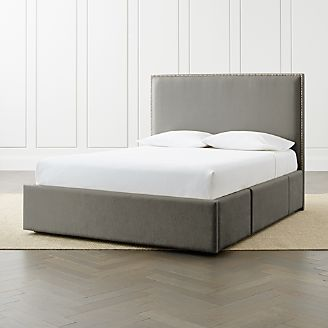 cole nickel queen headboard with upholstered storage base