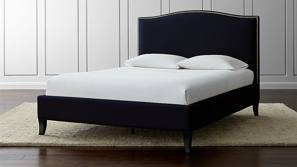 colette navy upholstered bed crate and barrel - Upholstered Bed Frame