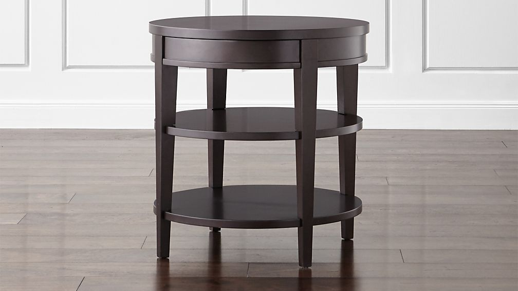 Colette Round Side Table With Drawer ...