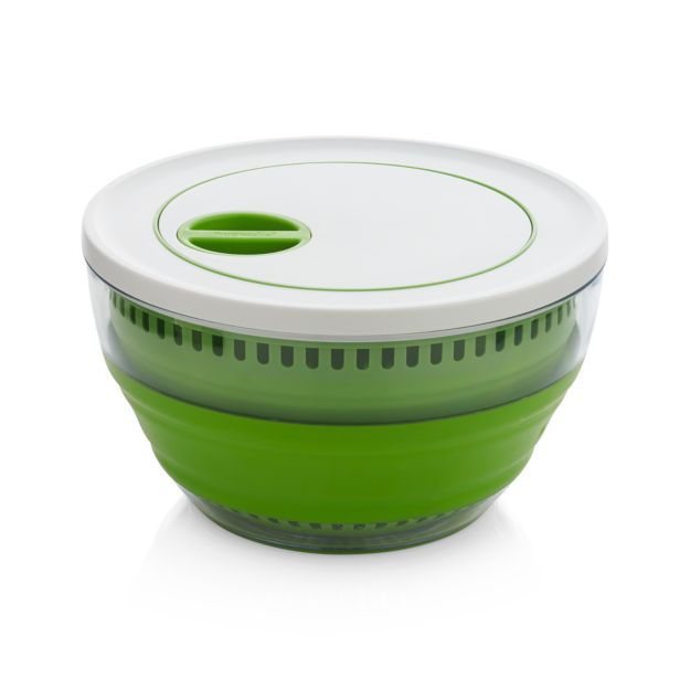 Green and white collapsible salad spinner