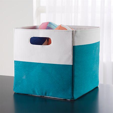 Color Block Teal Cube Storage Bin + Reviews | Crate and Barrel