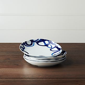 Set of 4 Como Swirl Salad Plates & Portugal Dinnerware | Crate and Barrel