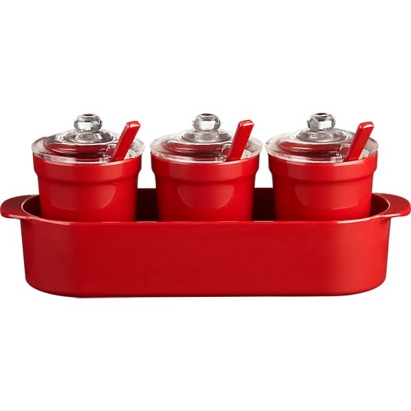Condiment Jars with Tray