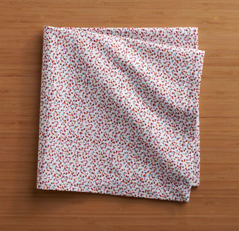 Micro, multicolored dots scatter in confetti abandon on crisp white cotton napkin.<br /><br /><NEWTAG/><ul><li>100% cotton</li><li>Machine wash cold, tumble dry; warm iron as needed</li><li>Do not dry clean or bleach</li><li>Made in India</li></ul>
