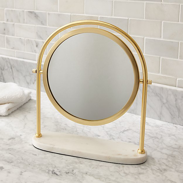 Safety Mirrors For Bathrooms: Contrell Round Brass Mirror + Reviews