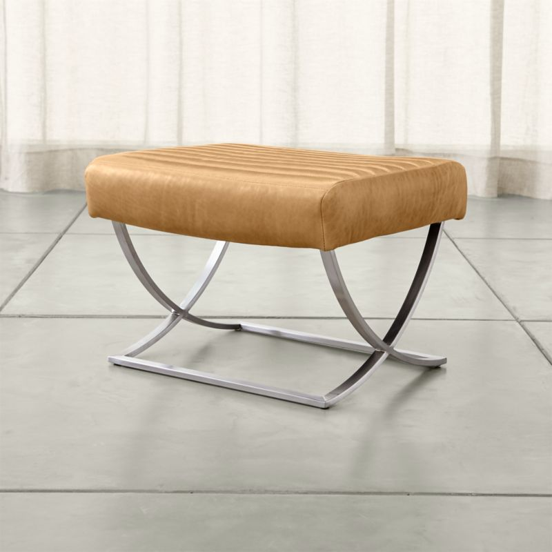Cooper Leather Ottoman in Ottomans Cubes Reviews Crate and Barrel