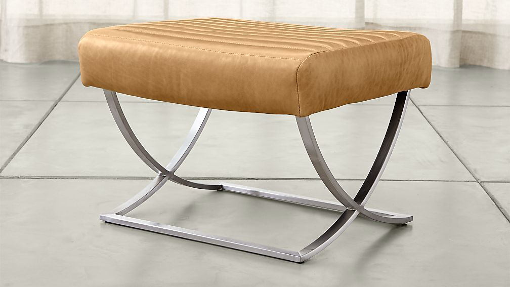 Cooper Leather Ottoman - Image 1 of 4