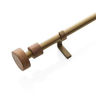 """Copenhagen Brass .75""""dia.x48""""–88"""" Curtain Rod with Wood Finials Set"""