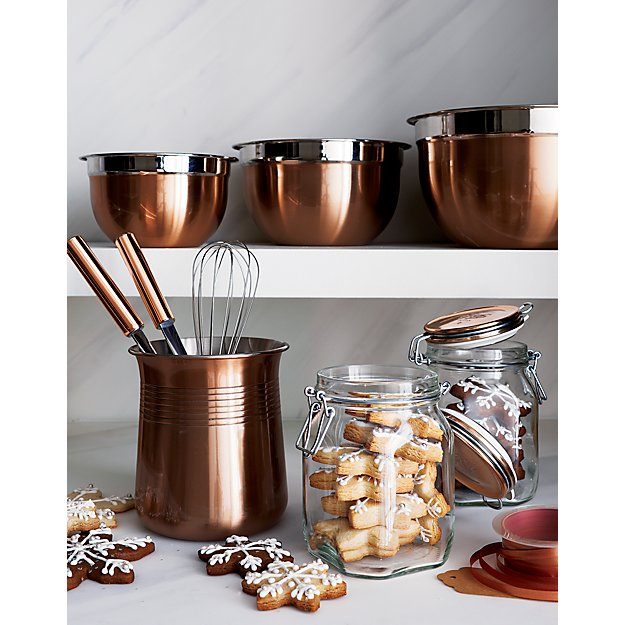 Functional Copper Kids Kitchen Set: Copper Handled Utensils Set Of Six In Cooking Utensils