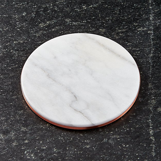 French Kitchen Marble and Copper Trivet