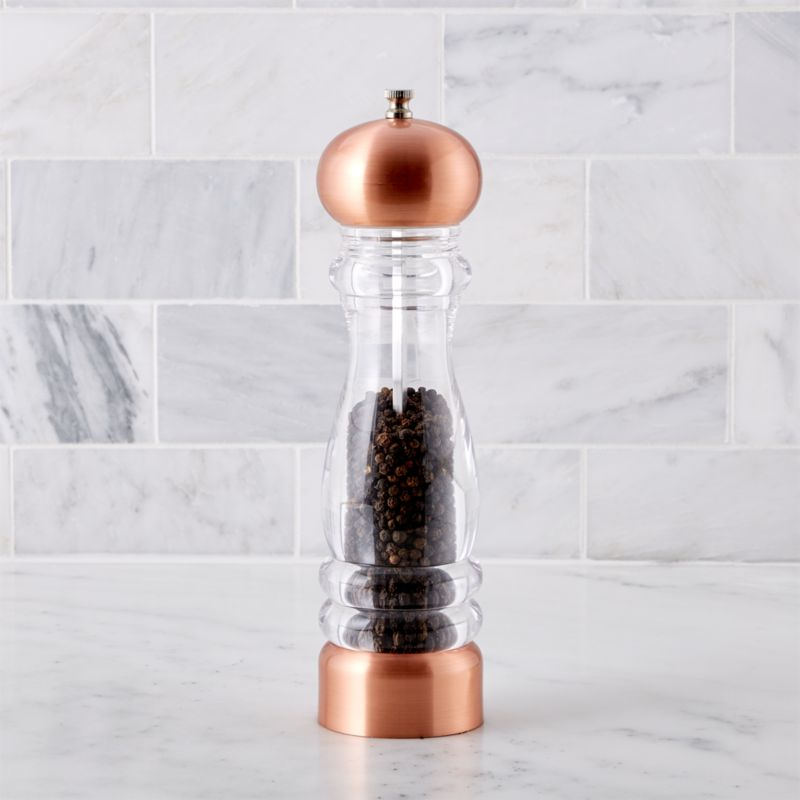 Classic copper for the kitchen or table. Pepper mill with copper-plated head and base has a view-through acrylic body. Pepper mill has an adjustable-grind mill that features a carbon steel mechanism.<br /><br /><NEWTAG/><ul><li>Copper-plate and high density BPA-free clear acrylic</li><li>Pepper mill has a carbon steel grind mechanism</li><li>Clean with a damp cloth</li><li>Made in China</li></ul>