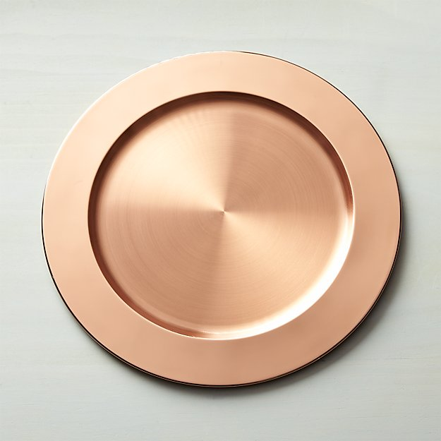 copper plated charger plate reviews crate and barrel