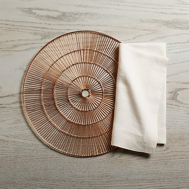 Round Copper Placemat and Helena Vanilla Linen Dinner Napkin