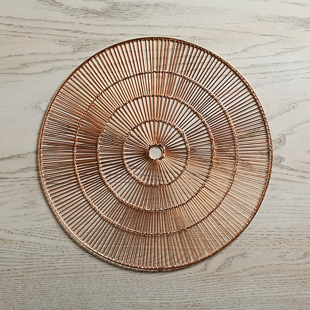 Round copper placemat crate and barrel