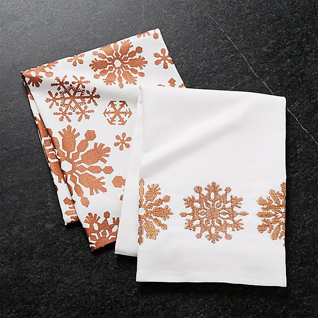 Copper Snowflakes Dish Towels, Set of 2