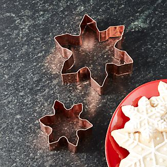 Copper Snowflake Cookie Cutters, Set of 2