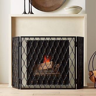 Fireplace screens tools and accessories crate and barrel corbett 3 panel bronze fireplace screen solutioingenieria Image collections