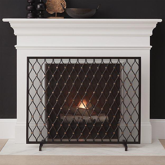 Corbett Bronze Fireplace Screen + Reviews   Crate and Barrel