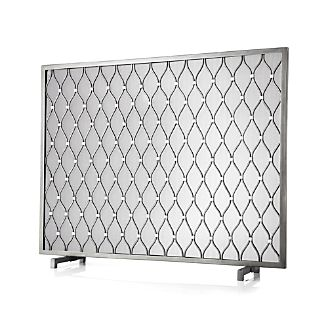 Fireplace screens tools and accessories crate and barrel for Silver fireplace doors