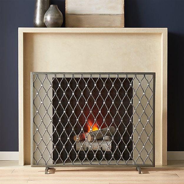 corbett silver fireplace screen crate and barrel