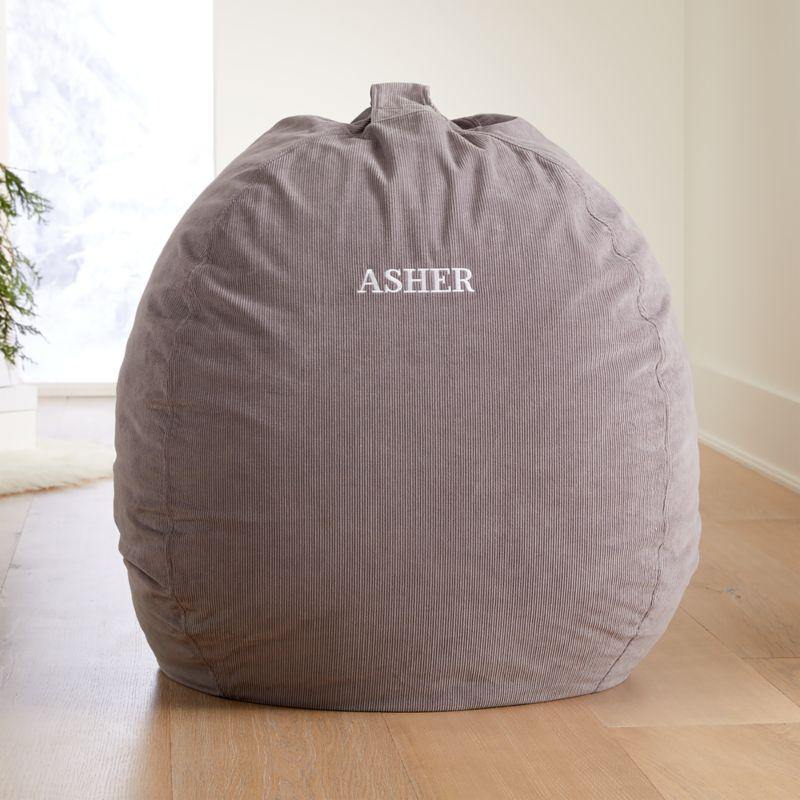 Grey Corduroy Bean Bag Chair Cover