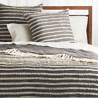 Corlett Grey and White Blanket and Euro Pillow Sham