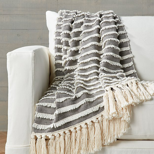 Corlett Grey and White Throw - Image 1 of 6
