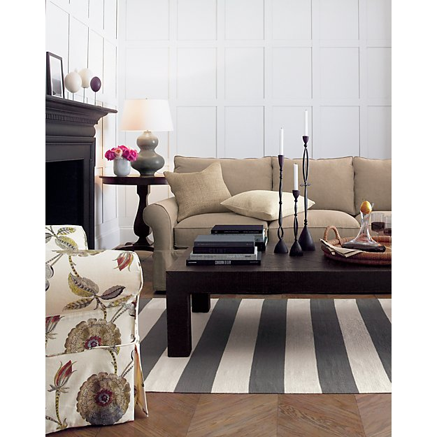 Olin Grey Striped Cotton Dhurrie 2 X6 Rug Runner In