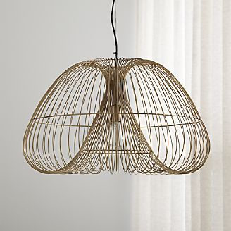 Pendant lighting and chandeliers crate and barrel cosmo brass wire pendant light aloadofball Image collections