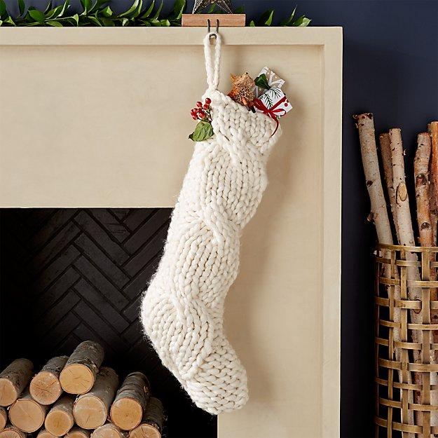 Cozy Ivory Knit Stocking