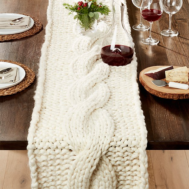 Cozy Knit Ivory Table Runner