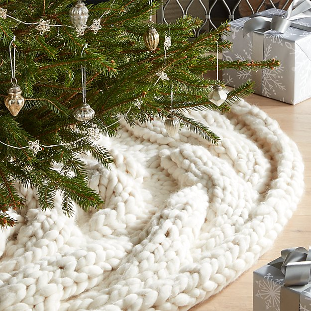 cozy knit ivory tree skirt - White Christmas Tree Skirts