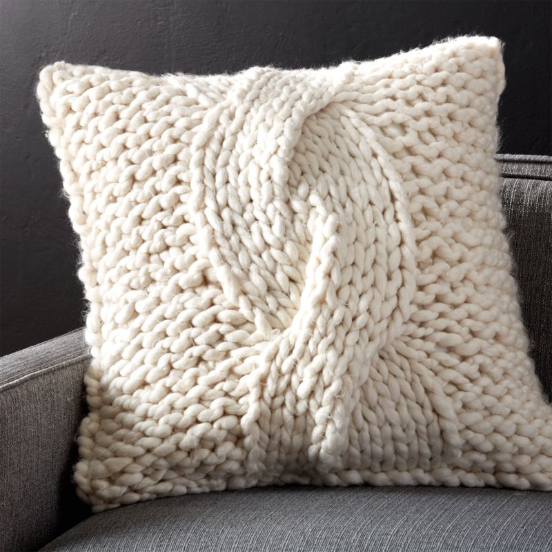 cozy knit ivory pillow - Toss Pillows