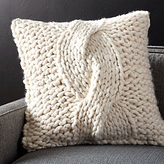 cozy knit ivory pillow