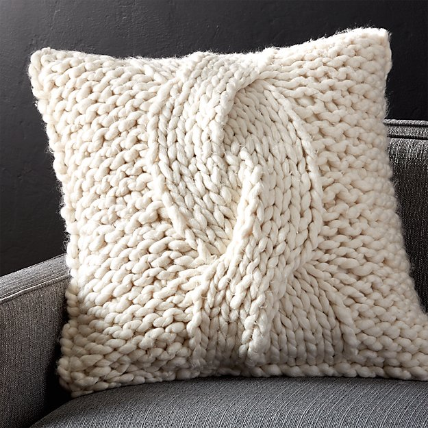 "Cozy Knit Ivory 23"" Pillow with Down-Alternative Insert - Image 1 of 9"