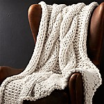 Cozy Knit Ivory Throw