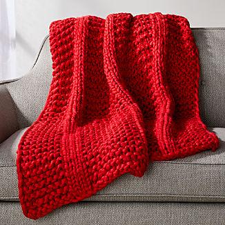 Cozy Knit Stripe Red Throw