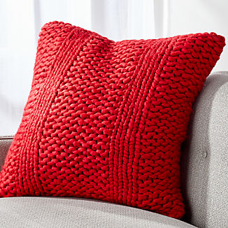 Cozy Knit Stripe Red Pillow
