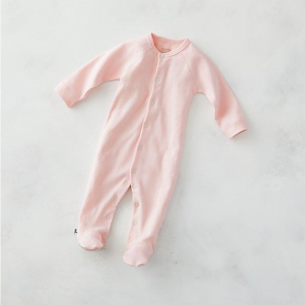 8d6c29cc2 Cozy Cotton Organic Light Pink Footie Pajamas