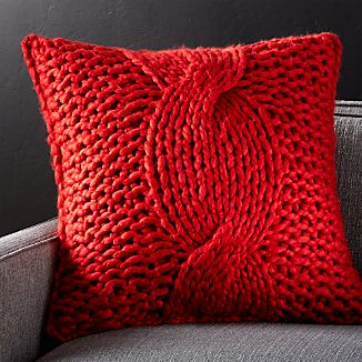 "Cozy Knit Red 23"" Pillow with Feather-Down Insert"